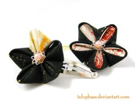 Kanzashi - Black and Red by telophase