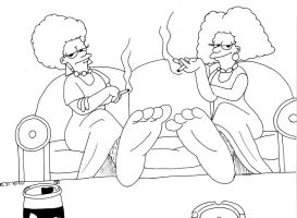 Patty and Selma's foot Rub by Dafootclan