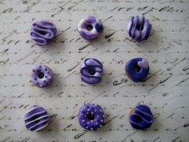 Purple Donut Magnets, Set of 9 by RoyalKitness