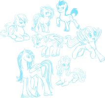 -MLPA- Pony Sketches 1 by VertreV