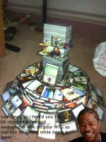i made a castle out of cards by scarabix
