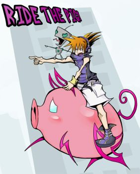 Commission: Ride The Pig, Neku by eecomics