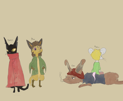 Cat, Fox, Rabbit, Mouse by Owsouu