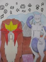 Entei, Mewtwo and Unowns by Hidavalentinwar