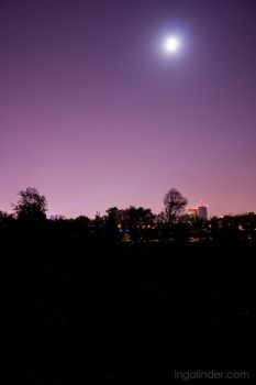 Warsaw and Moon by IngaLinder