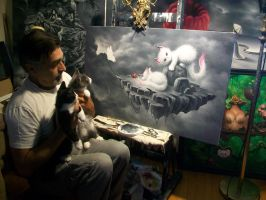 Christopher finishing up, The Orphans painting by ChristopherPollari