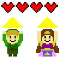 Link and Zelda Pixel Art ENLARGED by ladybug95