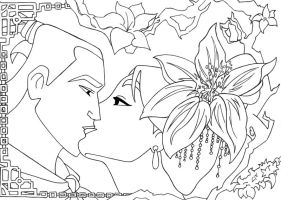 -Kiss Mulan and Shang lineart- by lizzzy-art