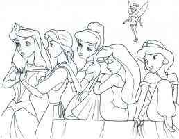 The Disney Females Line Art by Anime-Ray