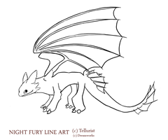 Night fury line art V. 1 updated by Tellurist
