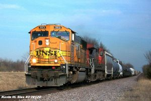 BNSF 9931 and CN 2612 lead UP MCHPB 02 by EternalFlame1891
