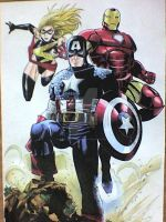 Mrs Marvel,Captain America and Iron Man Avengers by victoriapieroni
