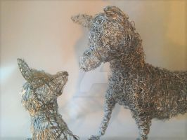 Fox and Cub Wire Sculpture by GillHolland