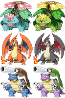 Kanto Starter Megalutions by JelloJolteon2000