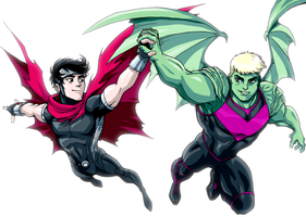 Wiccan and Hulkling by LucianoVecchio