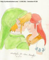 Malon and Link kiss by CJ-DB