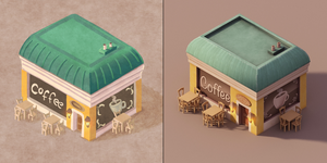 Coffee Shop Concept and Render by wrinkledlight