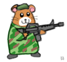 Draw a hamster with beret holding a gun by zenzmurfy