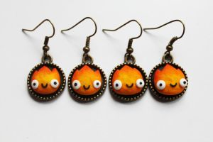 Calcifer Earrings by Nabila1790