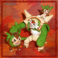 Pokemon Chespin Quilladin and Chesnaught Sculpture by YellerCrakka