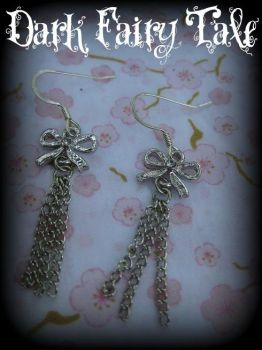 Rhinestone Bow Earrings by demon-empress