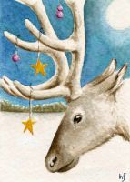 ACEO Christmas Reindeer by haz-elf