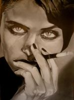 A pencil drawing of a classic women... by Tureluur