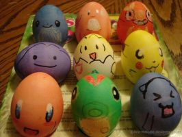 Pokemon and Kirby Easter Eggs by Aria-Melodie