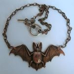 Copper Bat Necklace by Horribell-Originals