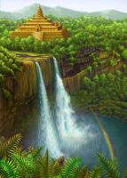Temple with Waterfall by tamiart