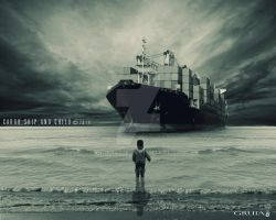 Cargo Ship And Child by Gruia4925