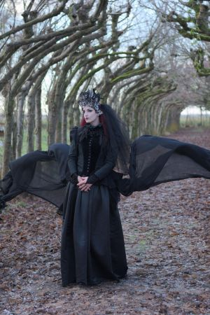 Stock - Gothic woman flying wings 2 by S-T-A-R-gazer