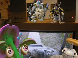 Spore Creatures on my desktop by superphail