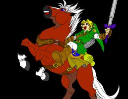 Link and Epona by frozen--phoenix