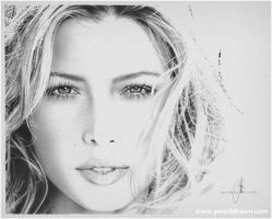 Jessica Biel Pencil Drawing by pencildrawn69