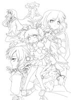 Puella Magi cast lineart by periwinkleimp