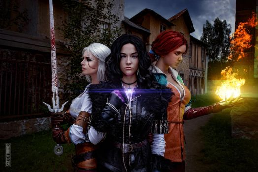 Yennefer, Triss and Ciri by Astrid-96