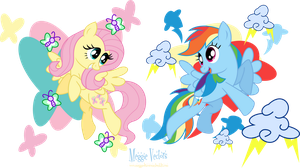 MLP: FIM -Fluttershy and Rainbow Dash by MeganLovesAngryBirds