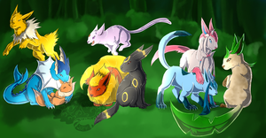 Com: Eeveelution madness by Kuroleopard