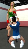 ChunLi and Cammy Spar in the Gym 6 by Chingafakes