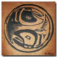 Yin Yang Salmon in Brown by ricmerry