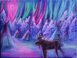 Moose Under the Northern lights by Marybriannemckay