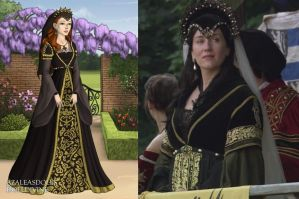 Catherine's black and gold tournament gown by LadyAquanine73551