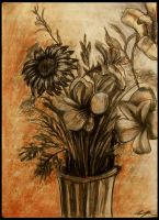 Charcoal-Flowers by pheona