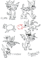 Spyro sketches lineart by CartoonSilverFox
