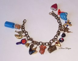 Zelda OoT Antique Gold tone Charm Bracelet OOAK by TorresDesigns