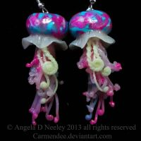 teal and pink mini jellyfish earrings by carmendee