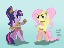 twilight and fluttershy - request by KeikoWasHere