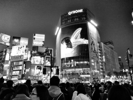 Just by the famous Shibuya Crossing by nmaeda
