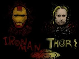 Iron Man and Thor by SHARK-E